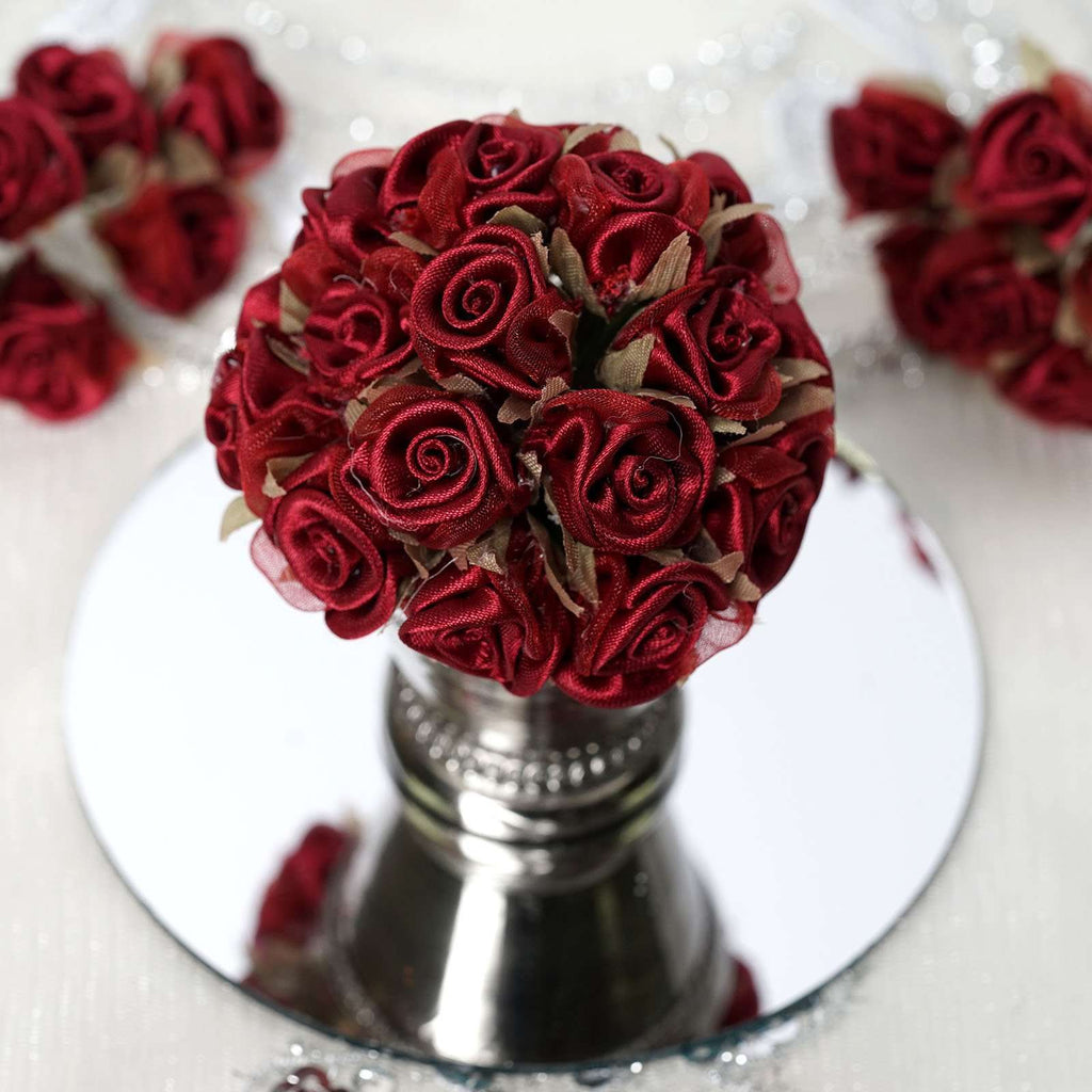 72 Burgundy Satin & Organza Craft Roses with Silk Leaves