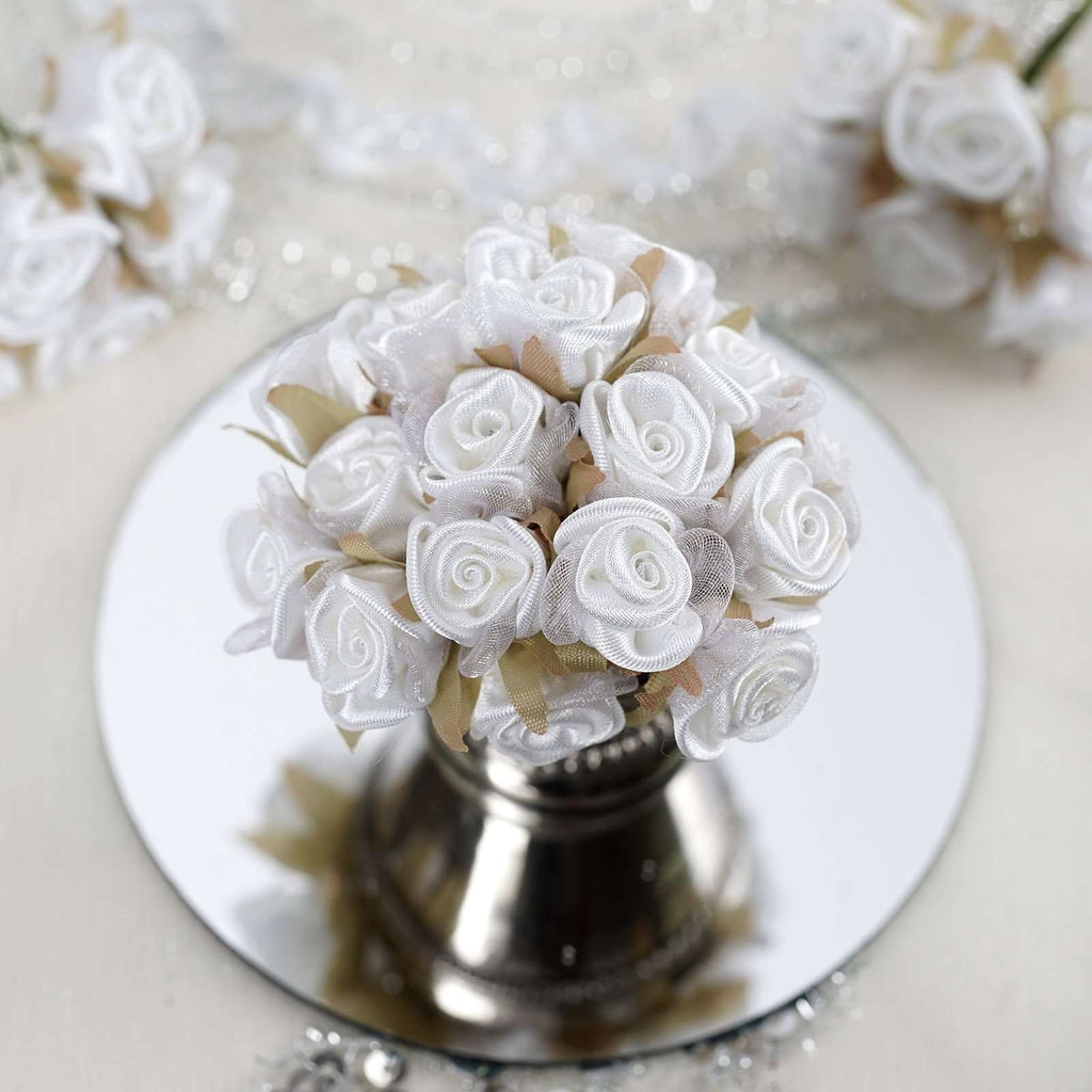 72 White Satin & Organza Craft Roses with Silk Leaves