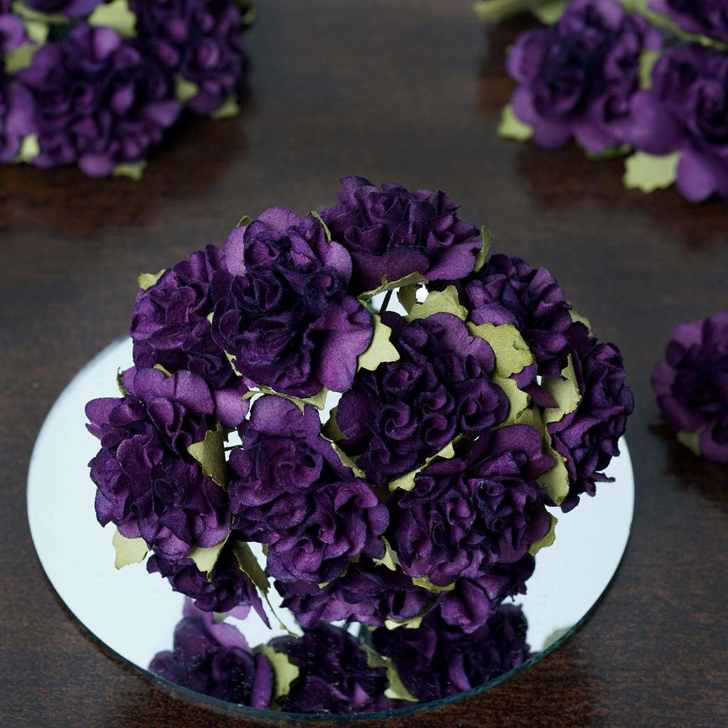 72 Purple Paper Mini Carnation Flowers