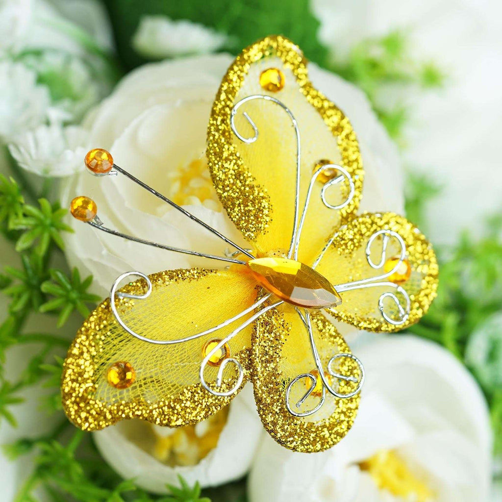 "12 Pack | 2 "" Gold Crystal Studded Organza Butterflies"
