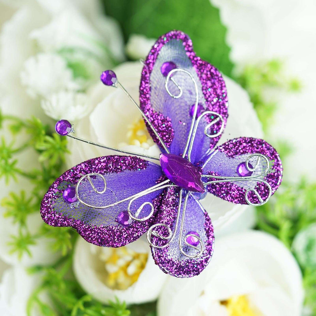 "12 Pack | 2 "" Purple Crystal Studded Organza Butterflies"