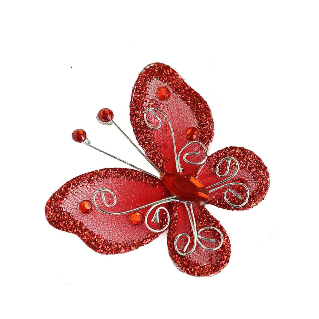 "12 Pack | 2 "" Red Crystal Studded Organza Butterflies"