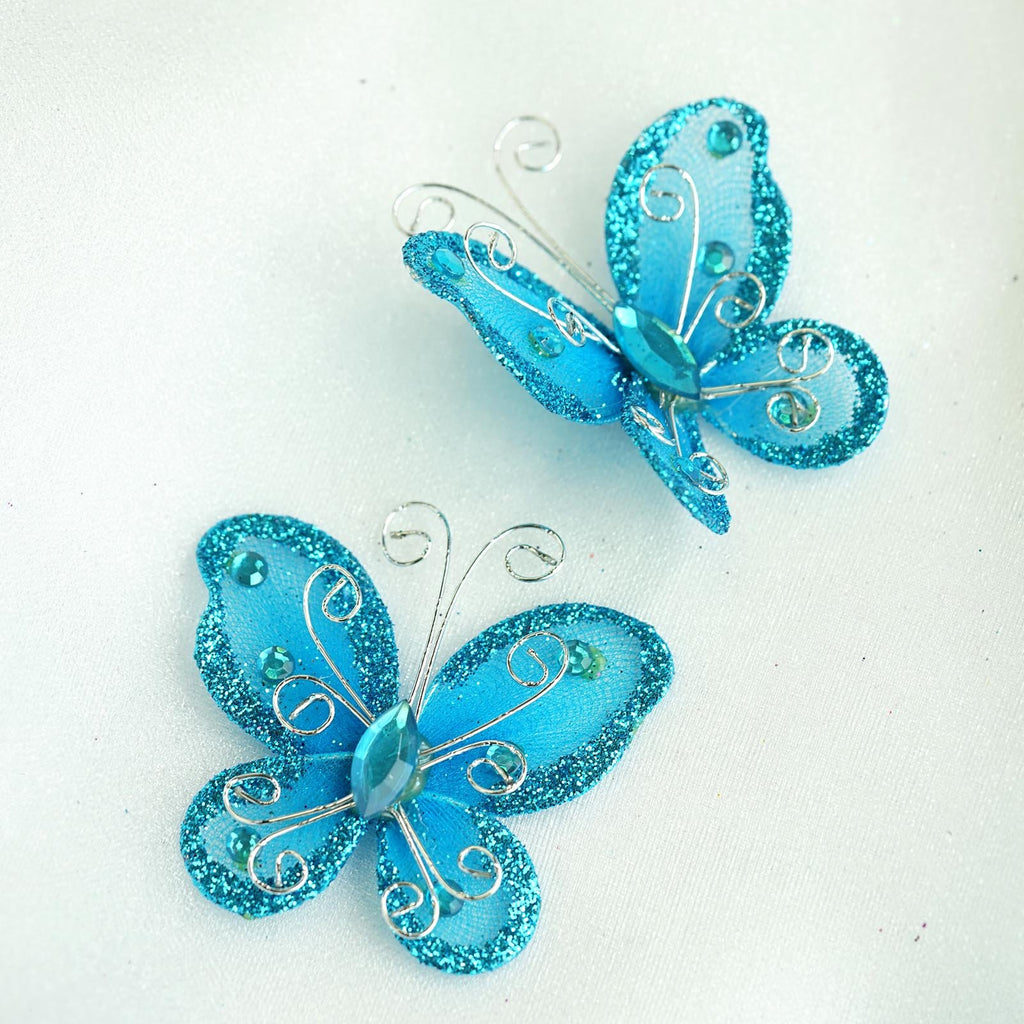 "12 Pack | 2 "" Turquoise Crystal Studded Organza Butterflies"
