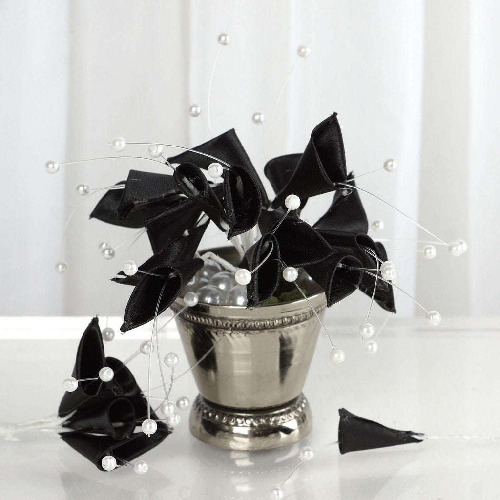 72 Black Artificial Floral Calla Lily Bead Flowers Wedding Home Craft Decor