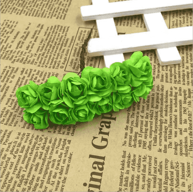144 Apple Green Paper Mini Flower Roses