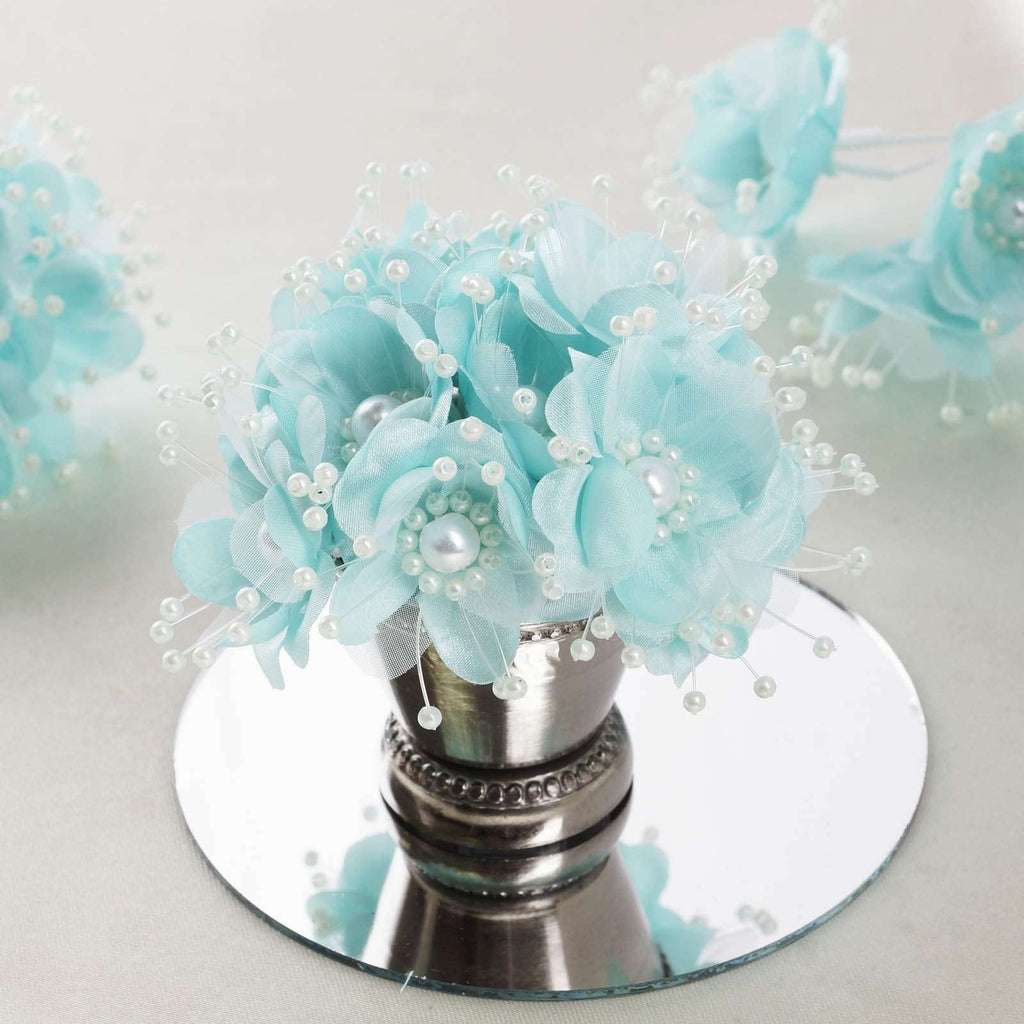 Faux Pearl Decor Flower Braids Corsage Boutineer Craft - Aqua - 72/Pack