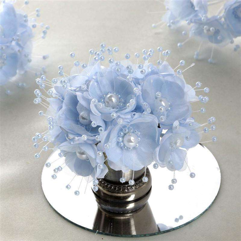 Faux Pearl Decor Flower Braids Corsage Boutineer Craft - Baby Blue - 72/Pack