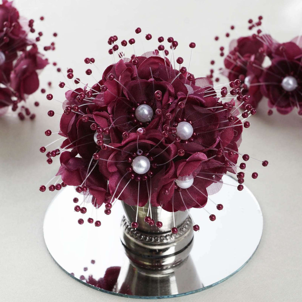 Faux Pearl Decor Flower Braids Corsage Boutineer Craft - Burgundy - 72/Pack