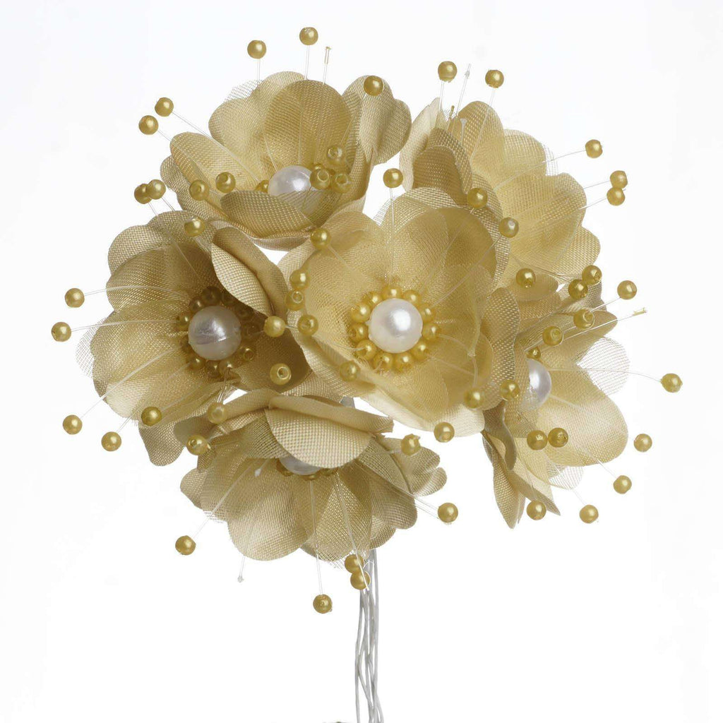 Faux Pearl Decor Flower Braids Corsage Boutineer Craft - Champagne - 72/Pack