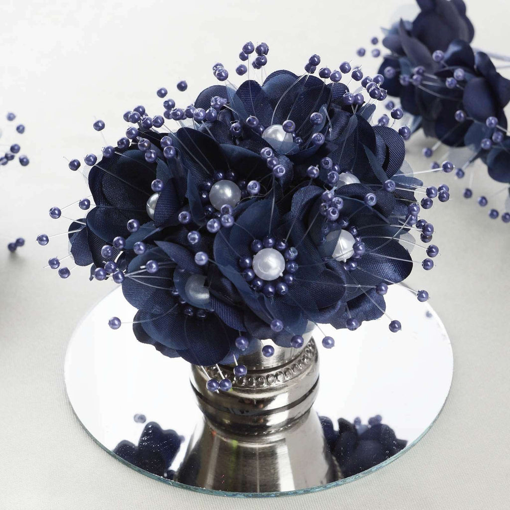 Faux Pearl Decor Flower Braids Corsage Boutineer Craft - Navy Blue - 72/Pack