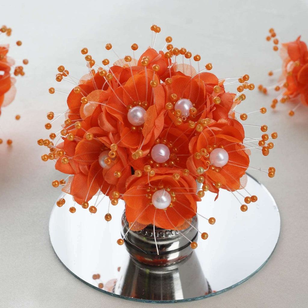 Faux Pearl Decor Flower Braids Corsage Boutineer Craft - Orange - 72/Pack