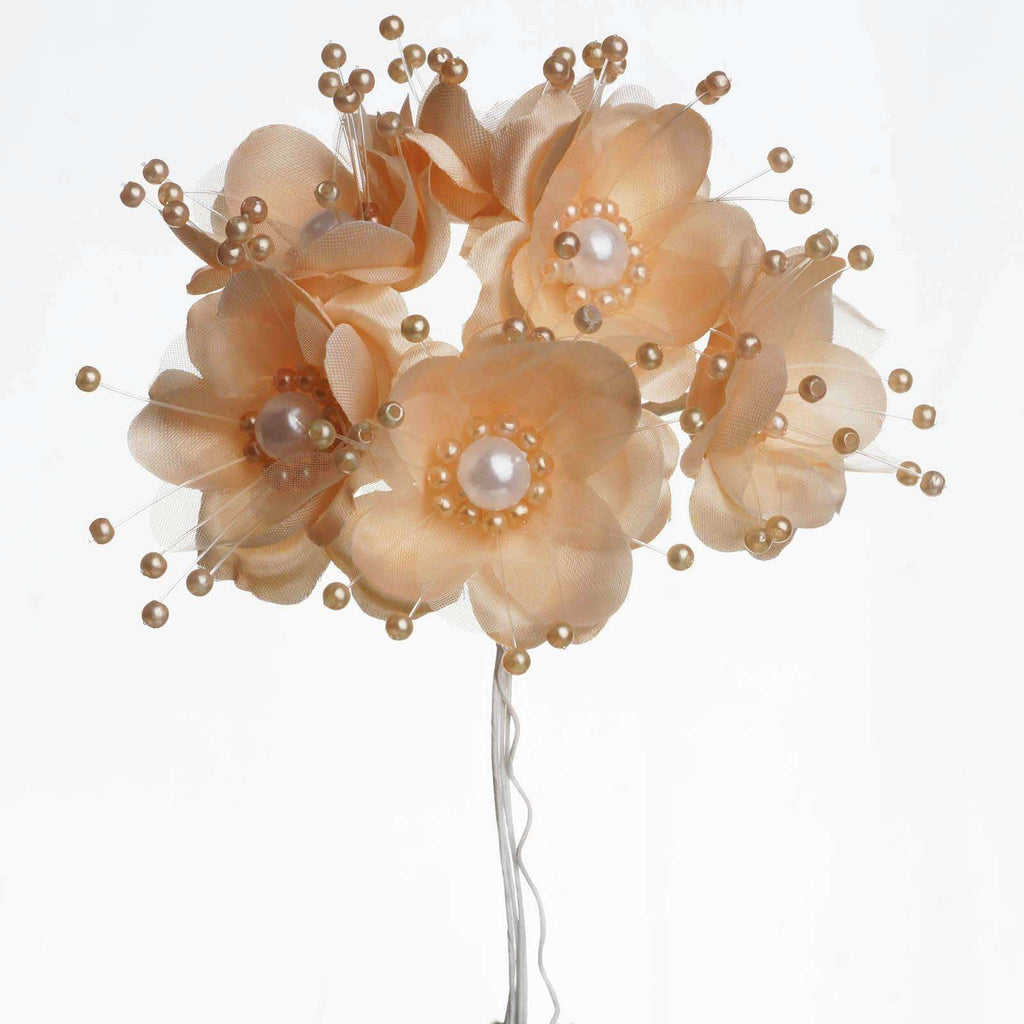 Faux Pearl Decor Flower Braids Corsage Boutineer Craft - Peach - 72/Pack
