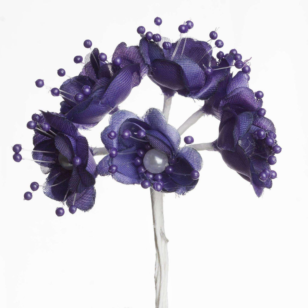 Faux Pearl Decor Flower Braids Corsage Boutineer Craft - Purple - 72/Pack