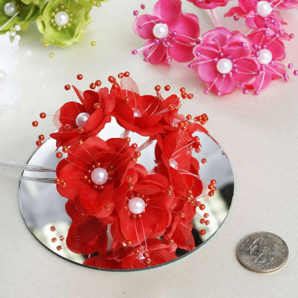 Faux Pearl Decor Flower Braids Corsage Boutineer Craft - Red - 72/Pack