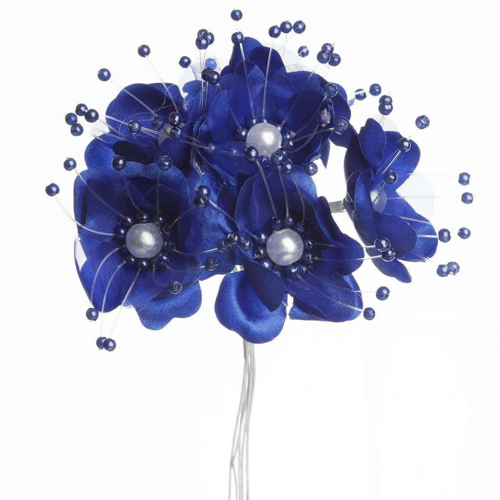 Faux Pearl Decor Flower Braids Corsage Boutineer Craft - Royal Blue - 72/Pack