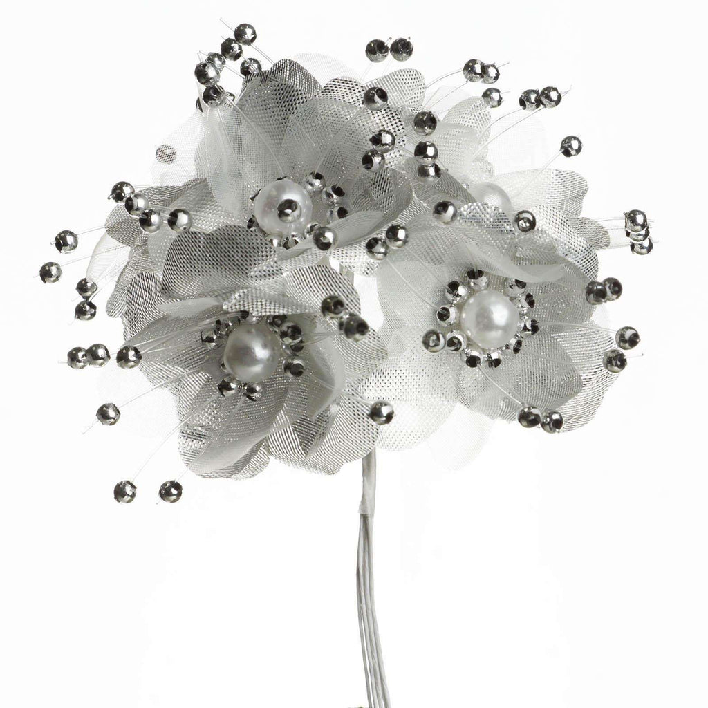Faux Pearl Decor Flower Braids Corsage Boutineer Craft - Silver - 72/Pack