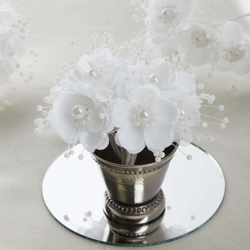 Faux Pearl Decor Flower Braids Corsage Boutineer Craft - White - 72/Pack