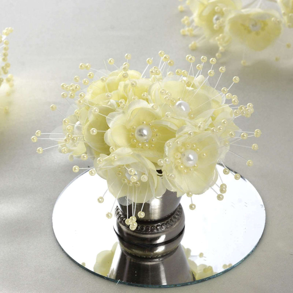 Faux Pearl Decor Flower Braids Corsage Boutineer Craft - Yellow - 72/Pack