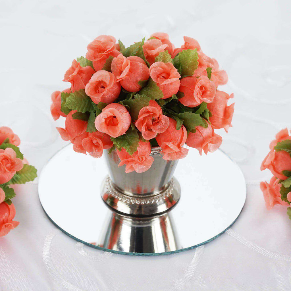 144 All Coral Poly Rose Buds DIY Favor Craft