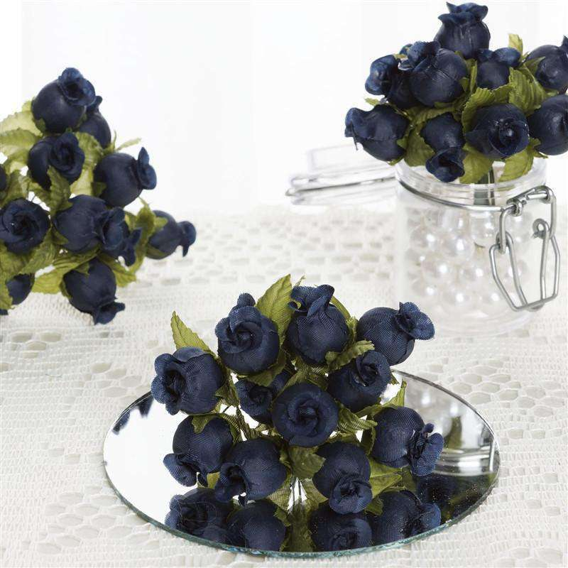 144 Navy Blue Poly Rose Buds Wedding Bouquet Flowers Decoration