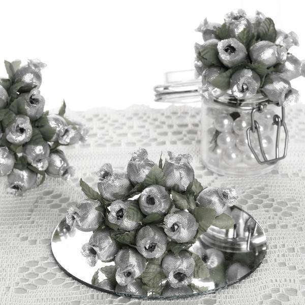 144 All Silver Poly Rose Buds DIY Favor Craft