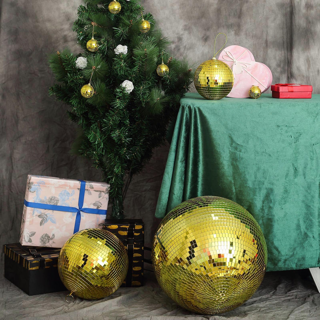 "6 Pcs 2"" Gold Glass Mirror Disco Ball 