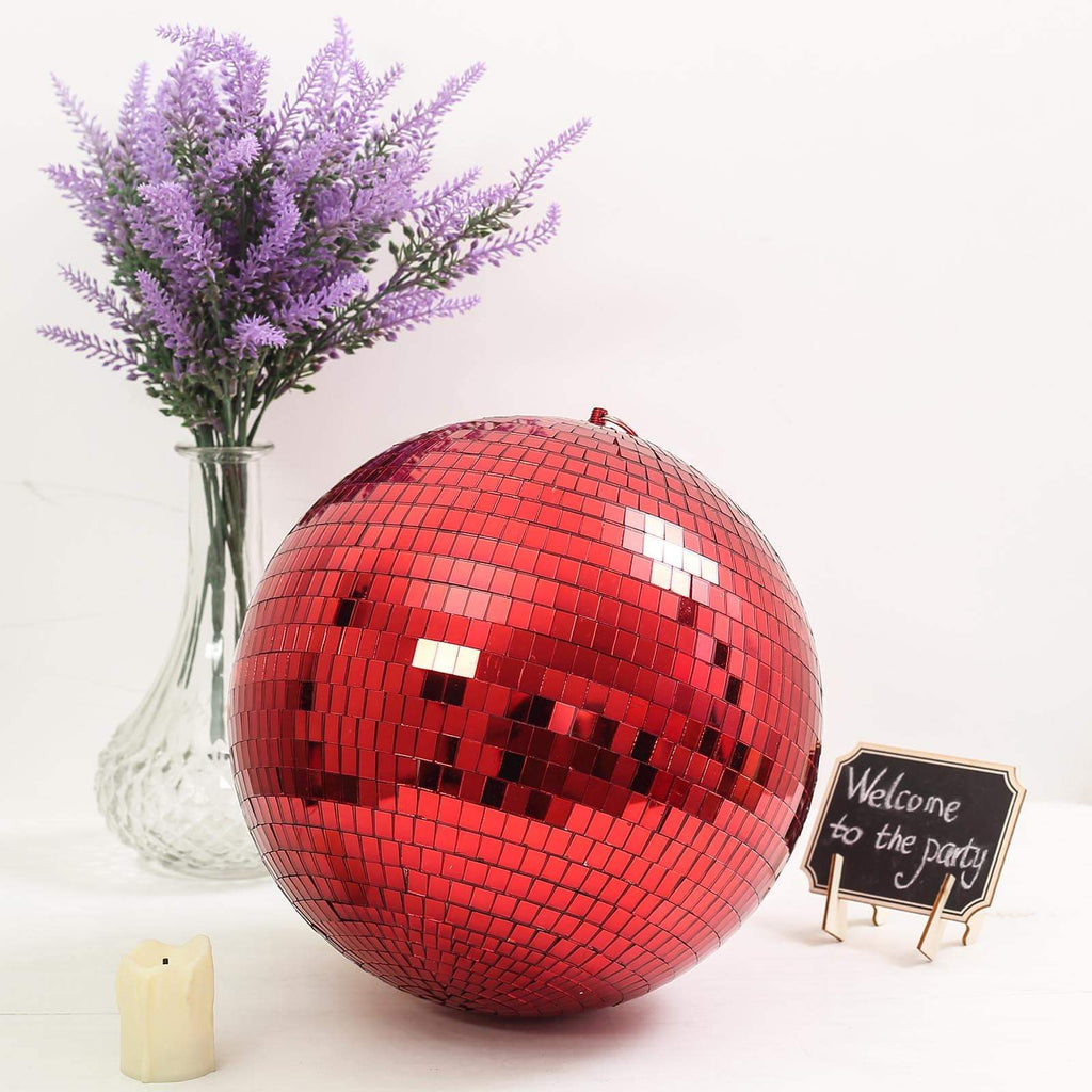 "2 Pcs 10"" Groovy Glass Mirror Disco Ball - Red"