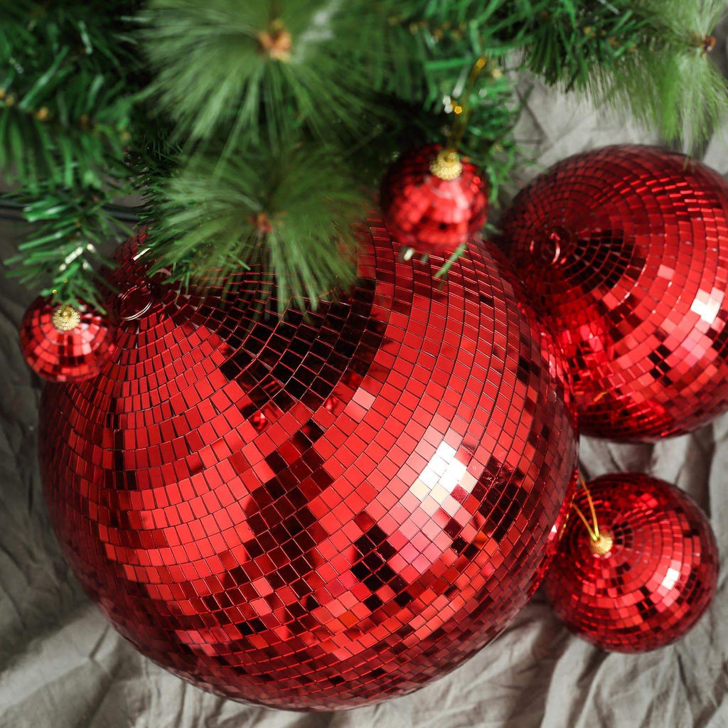 "16"" Red Glass Disco Mirror Balls with Hanging String 