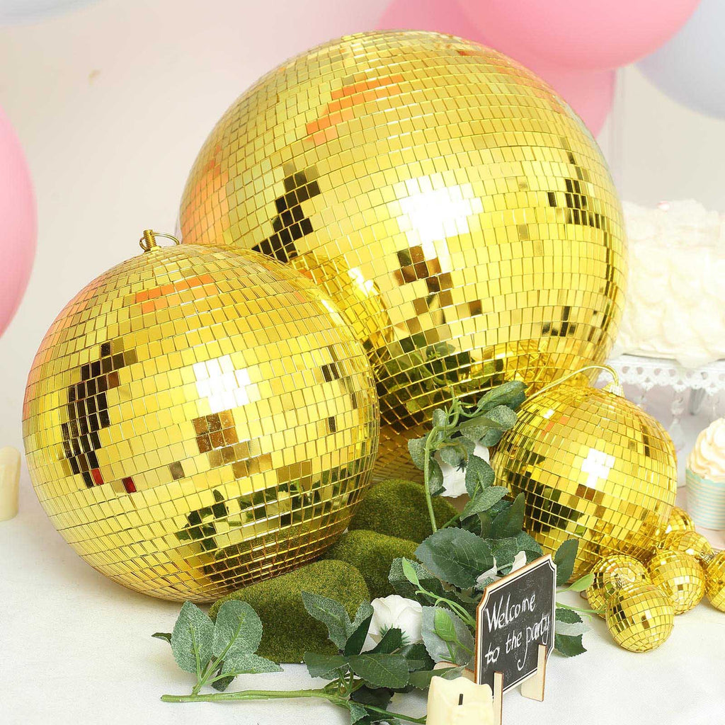 "20"" Groovy Glass Mirror Disco Ball- Gold"