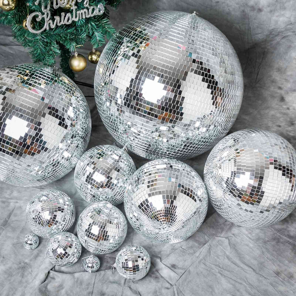 "4 Pcs 6"" Groovy Glass Mirror Disco Ball Party Decoration"