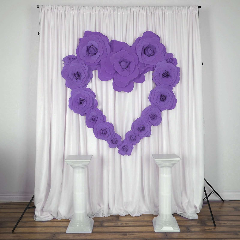 "6 Pack 8"" Large Lavender Real Touch Artificial  Foam Backdrop Craft Roses"