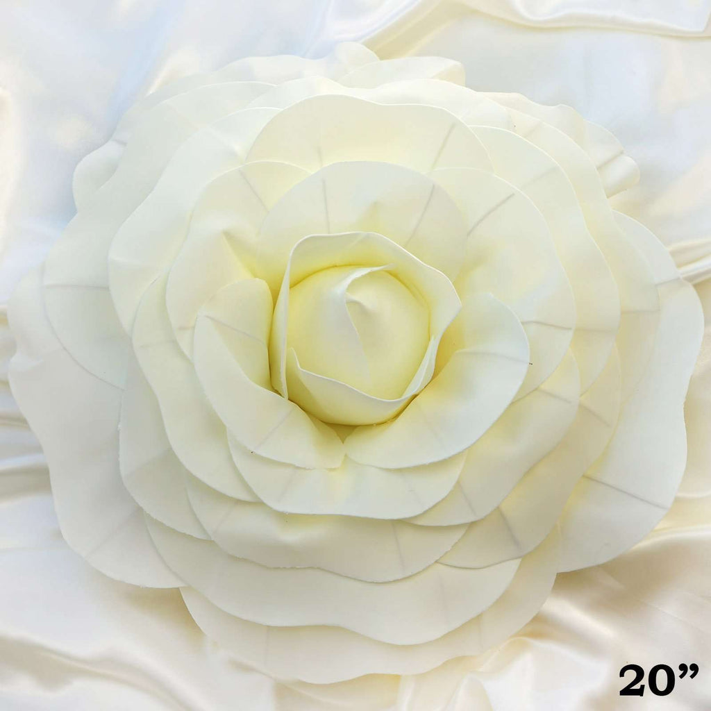"2 Pack 20"" Large Ivory Real Touch Artificial  Foam Backdrop Craft Roses"