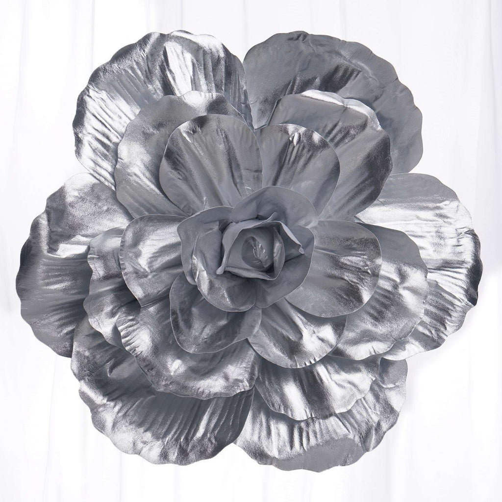 "2 Pack 20"" Large Silver Real Touch Artificial  Foam Backdrop Craft Roses"