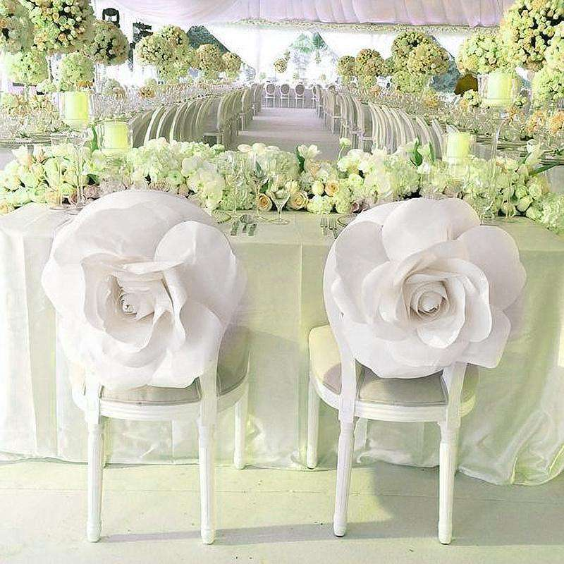 "2 Pack 20"" Large White Real Touch Artificial  Foam Backdrop Craft Roses"