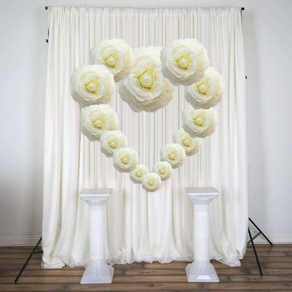 "2 Pack 24"" Large Ivory Real Touch Artificial  Foam Backdrop Craft Roses"
