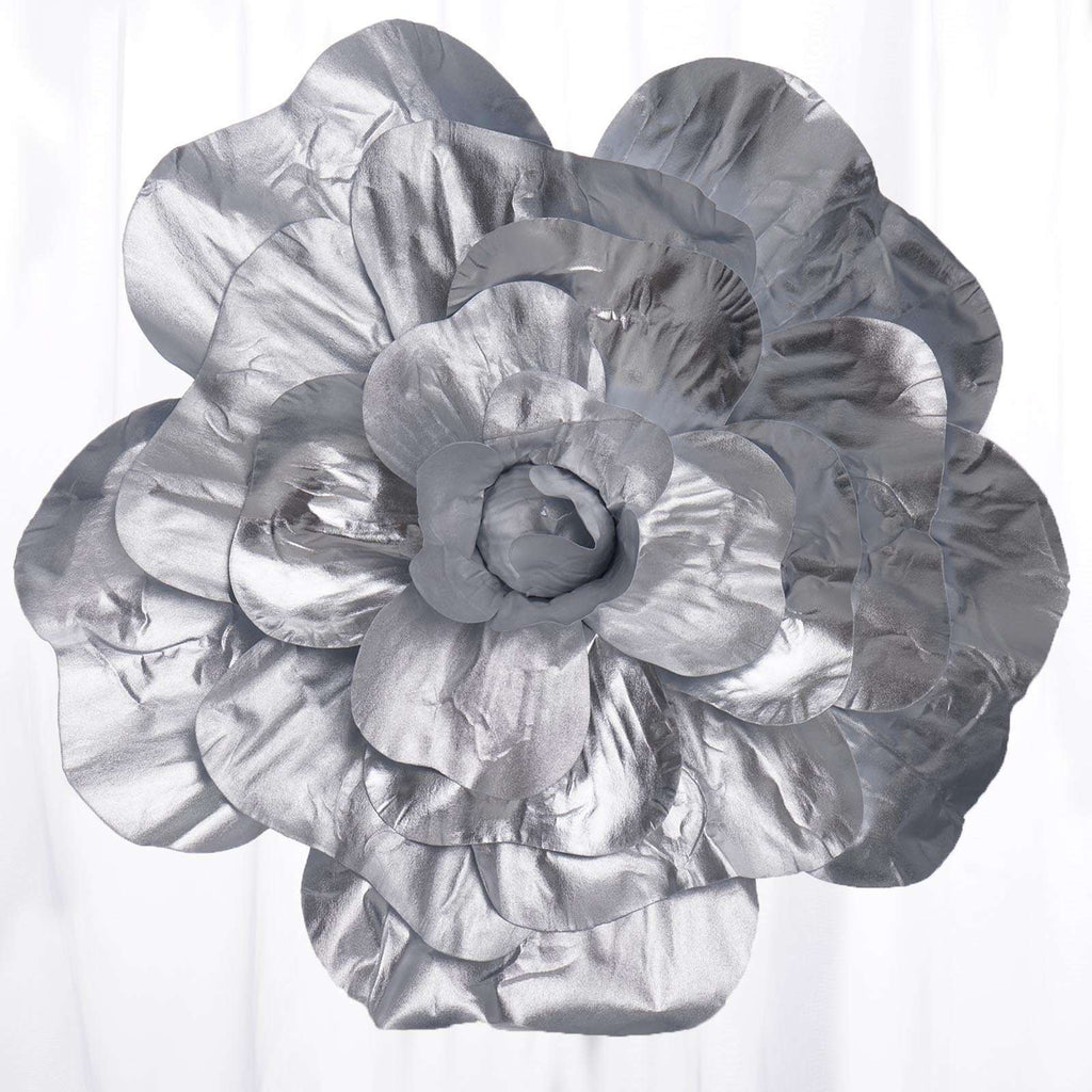 "2 Pack 24"" Large Silver Real Touch Artificial  Foam Backdrop Craft Roses"