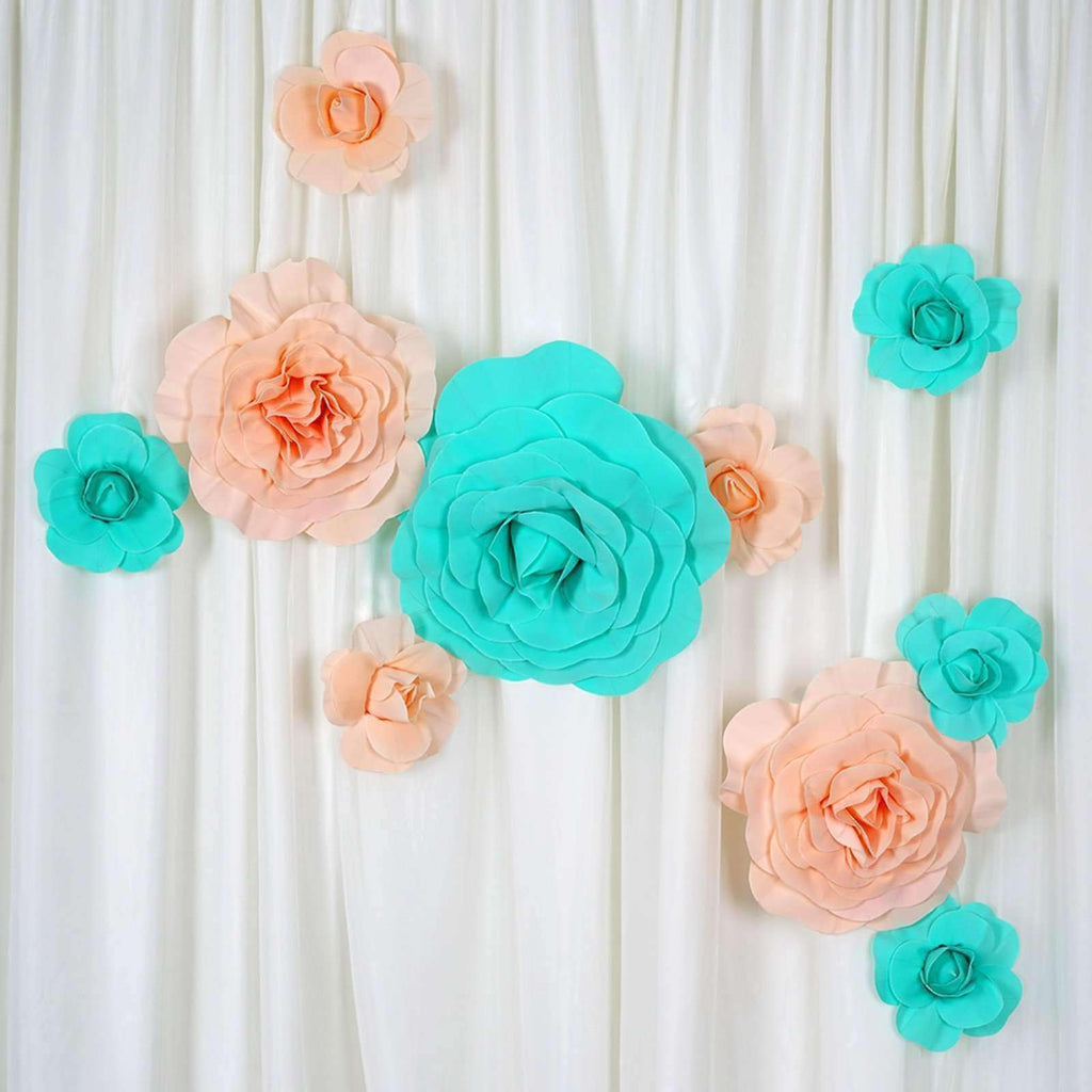"6 Pack 8"" Large  Real Touch Artificial Foam Backdrop Craft Roses- Rose Gold 
