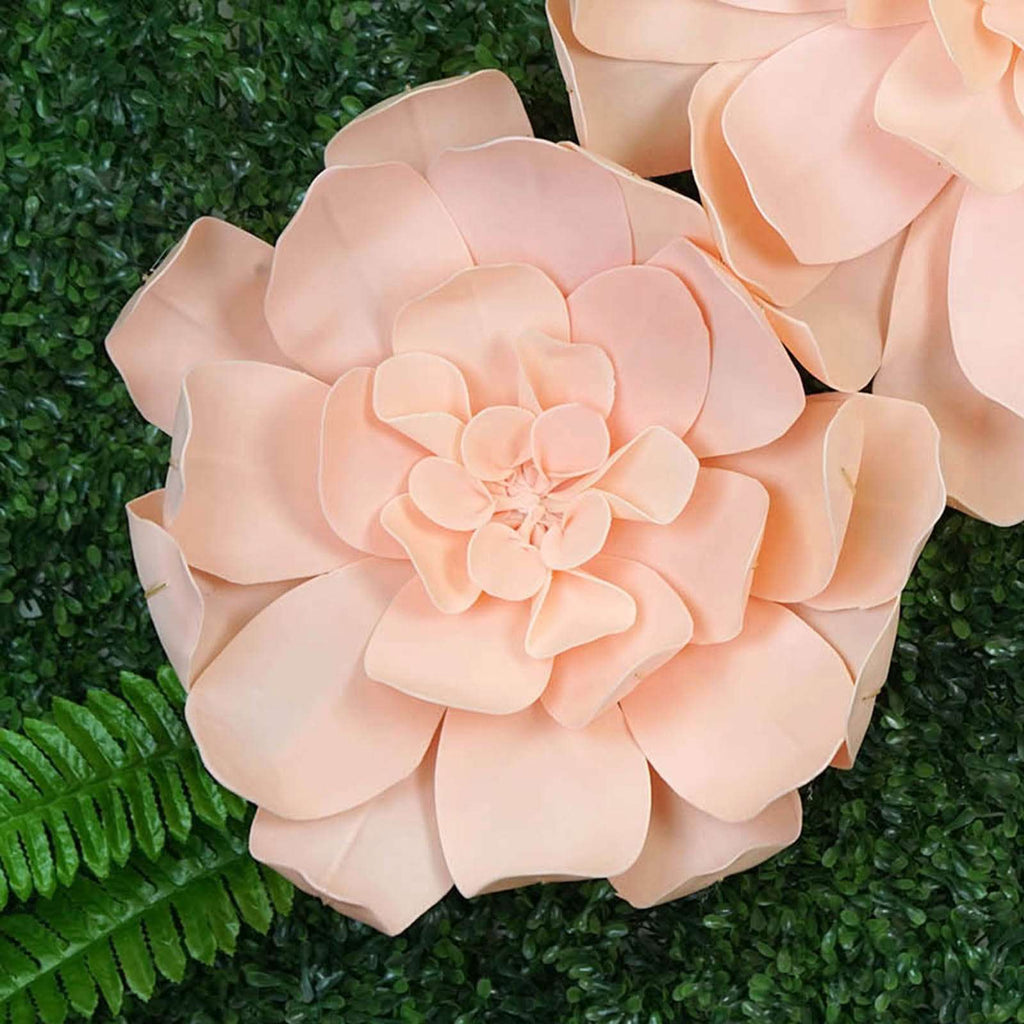 "2 Pack 20"" Real Feel Foam Daisy Flowers For Walls Backdrops - Rose Gold 