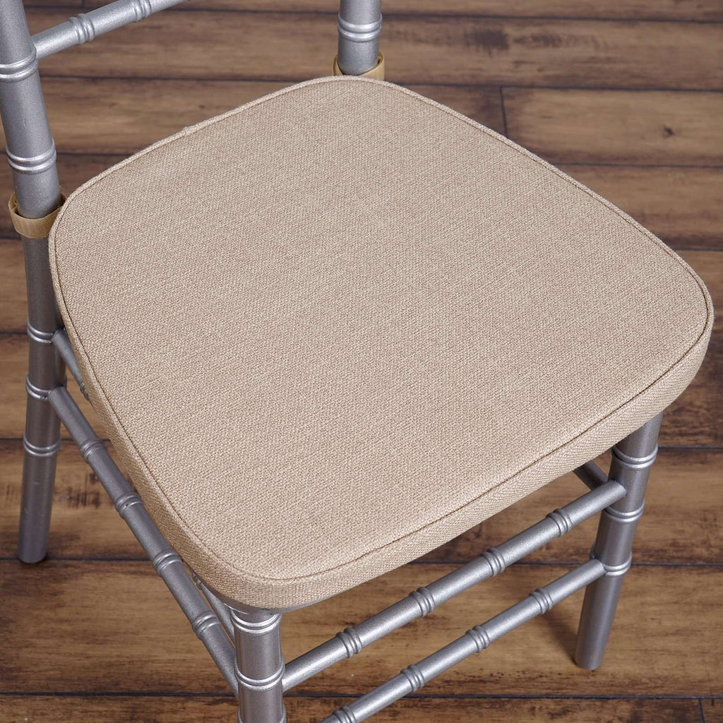 "2"" Thick Natural Burlap Cushion for Beechwood Chairs Wedding Party Events"