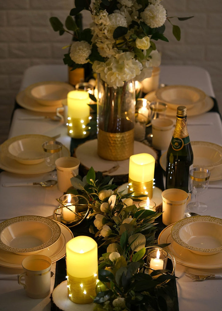 Set of 3 | Gold | Flameless Candles With LED String Light | Battery Operated LED Pillar Candle Lights with Remote Timer - 4"