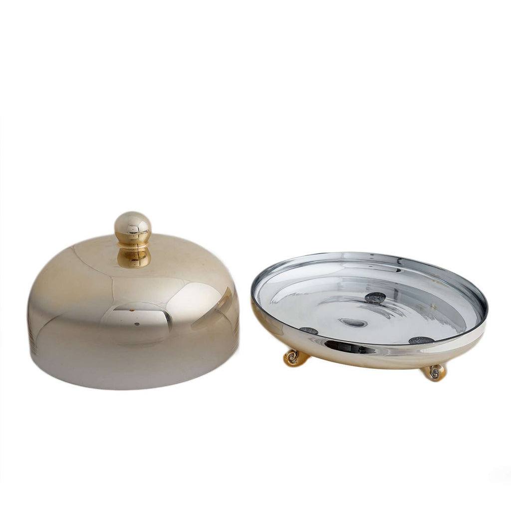 "11"" Round Gold Metallic Ombre Glass Cupcake & Cake Stand with Dome Cover"