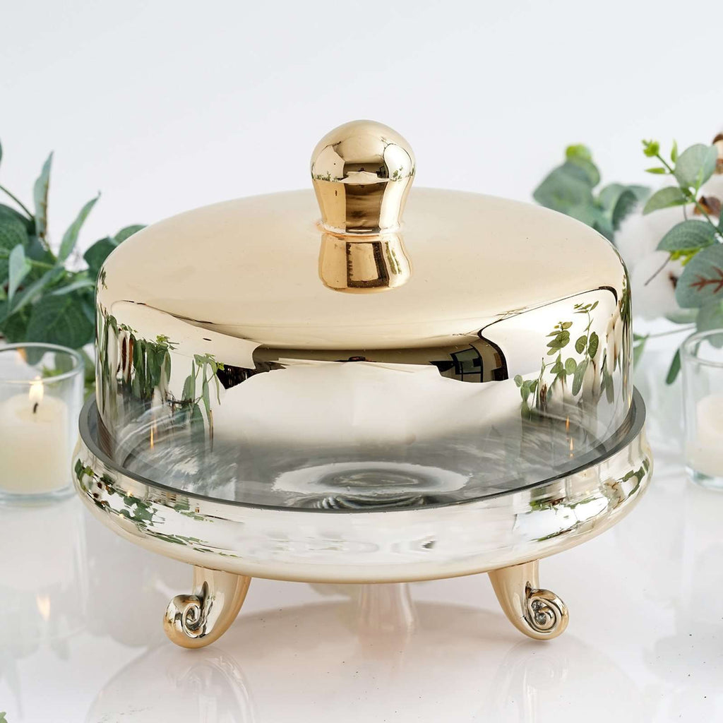 "9"" Round Gold Metallic Ombre Glass Cupcake & Cake Stand with Dome Cover"