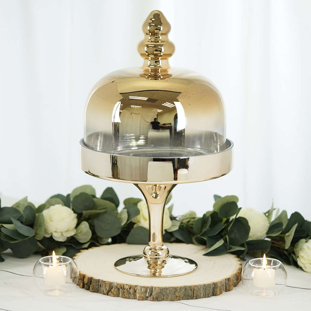 "19"" Gold Metallic Ombre Glass Pedestal Cake Stand with Dome Cover"