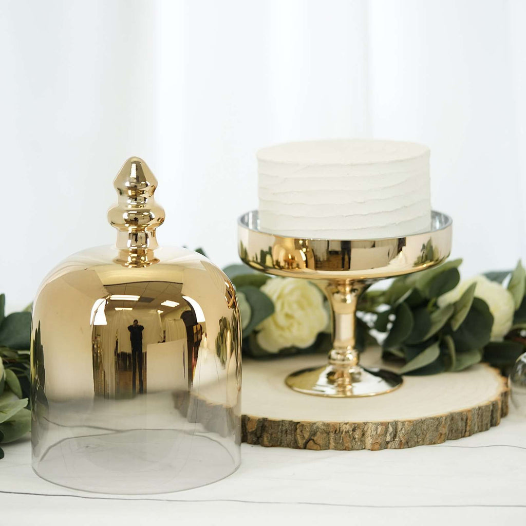 "16"" Gold Metallic Ombre Glass Pedestal Cake Stand with Dome Cover"
