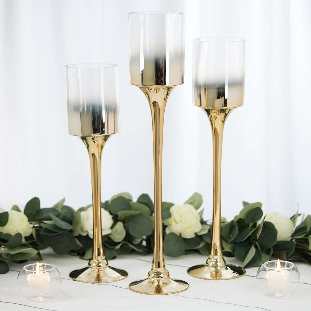 Set of 3 | Gold Metallic Ombre Long Stem Cylinder Glass Candle Holder - 20"