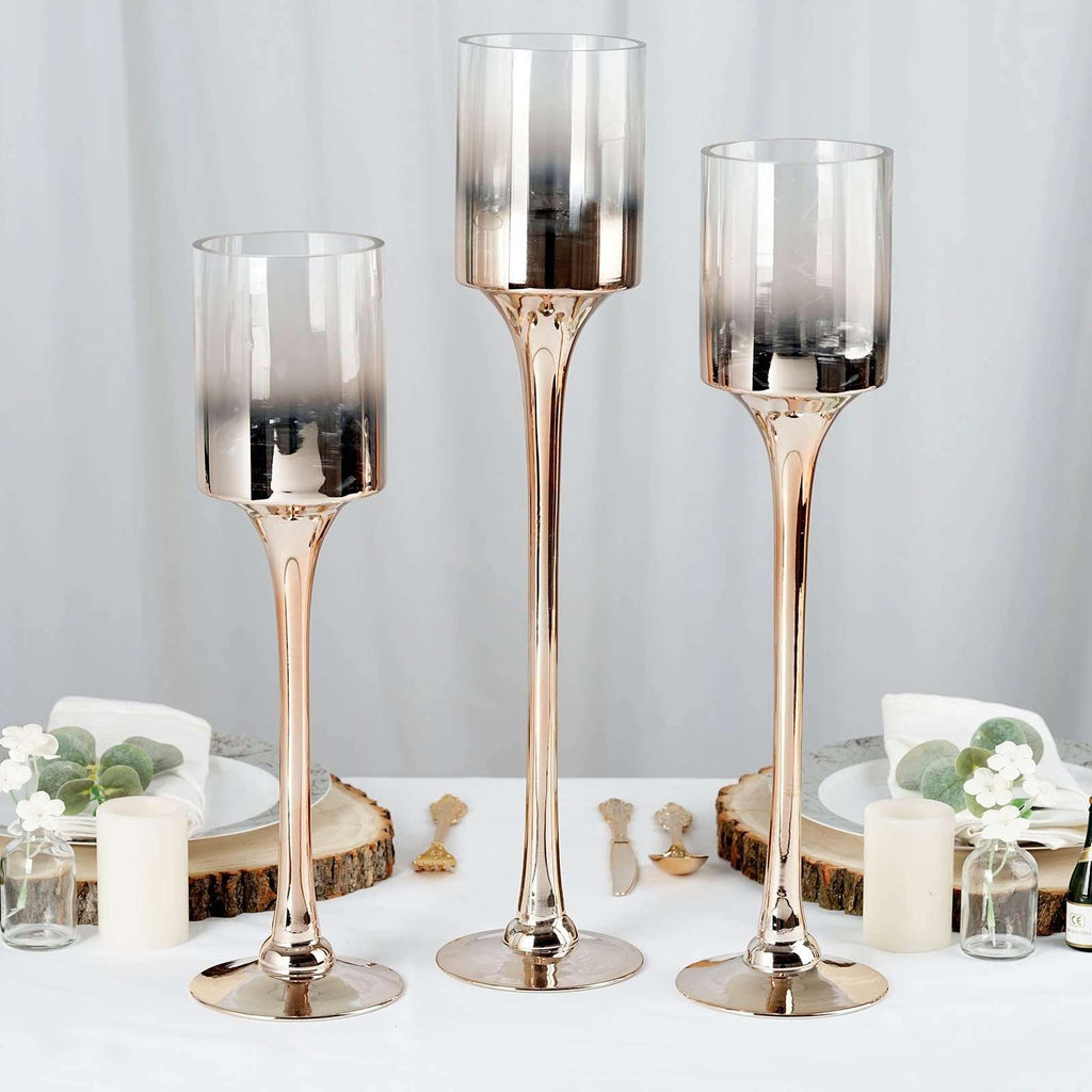 Set of 3 | Champagne Metallic Ombre Long Stem Cylinder Glass Candle Holder - 20"