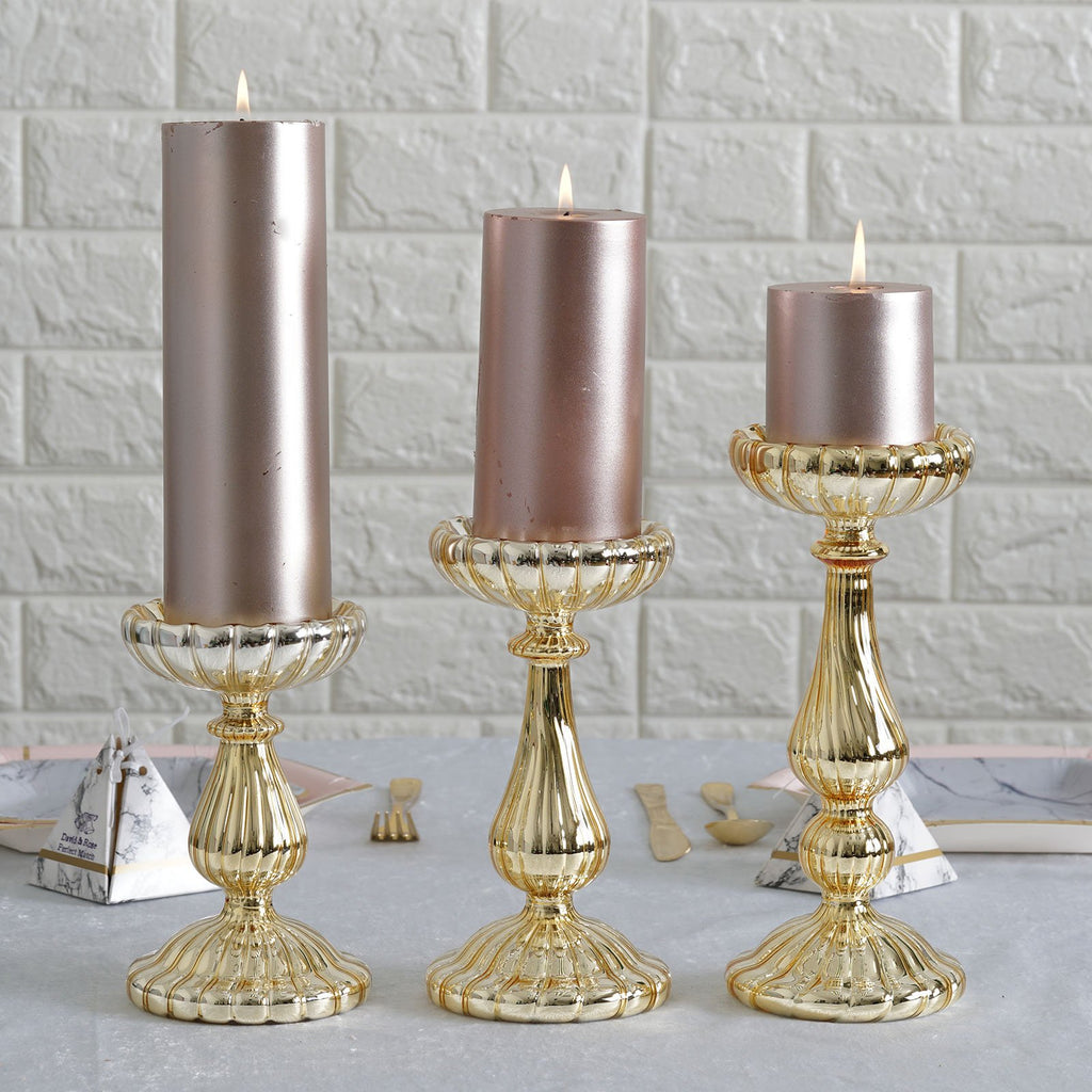Set of 3 | Mercury Glass Gold Pillar Candle Holder | Taper Candle Holder - 7"