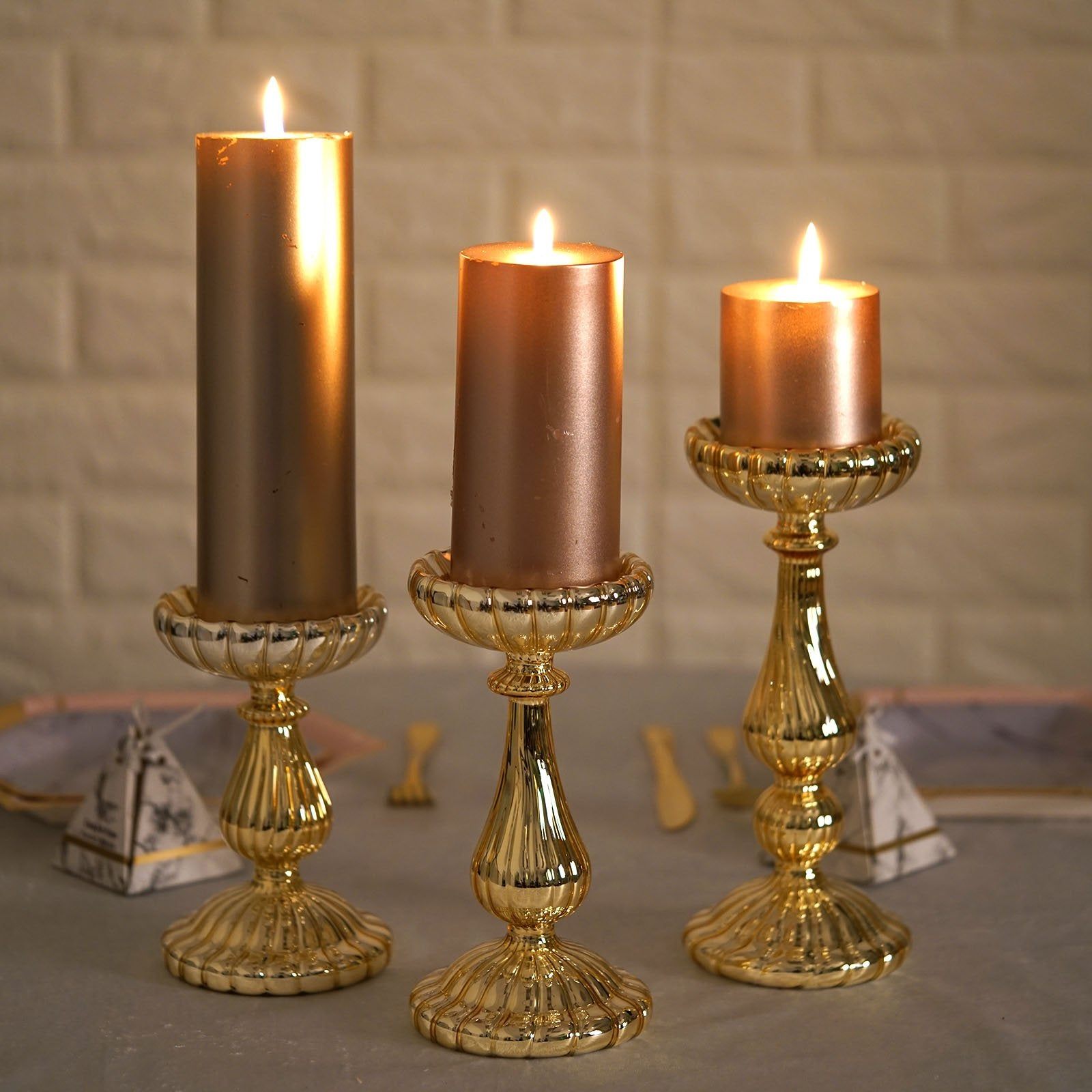 Set Of 3 Mercury Glass Gold Pillar Candle Holder Taper Candle Hold Chaircoverfactory