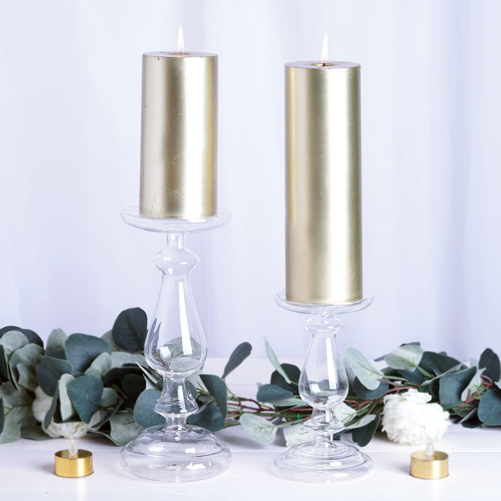 "Set of 2 - Clear Mercury Glass Candle Holders, Reversible Pillar Candle Holders - 7"",10"""