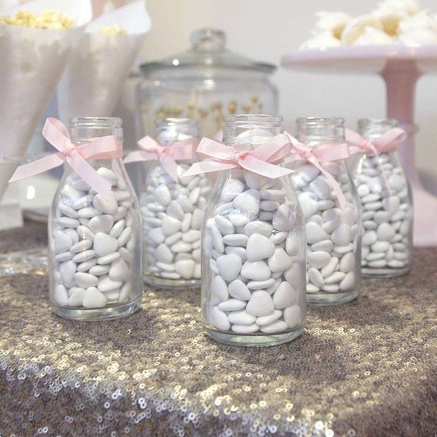 12 Pack 11 Oz Clear Glass DIY Decorative Favor Gift Milk Bottles With Lids